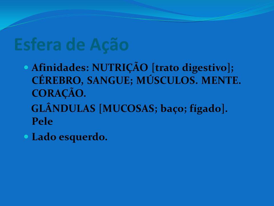 Esfera de Ação Afinidades: NUTRIÇÃO [trato digestivo]; CÉREBRO, SANGUE; MÚSCULOS. MENTE. CORAÇÃO. GLÂNDULAS [MUCOSAS; baço; fígado]. Pele.